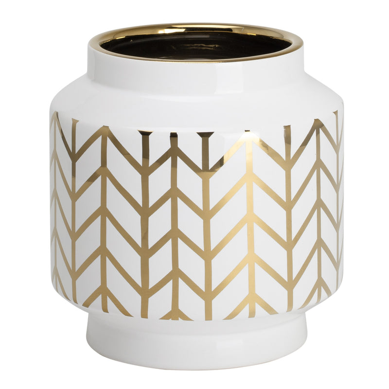 "ELEMENTS CHEVRON GOLD STRIPE PATTERN 7.5H"" WHITE CERAMIC PLANTER VASE"