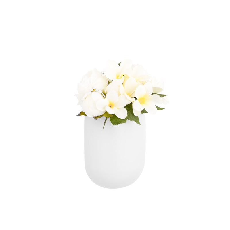"CENTRA CERAMIC 6 X 3 X 7.5H"" WALL VASE PLANTER - TALL WHITE"
