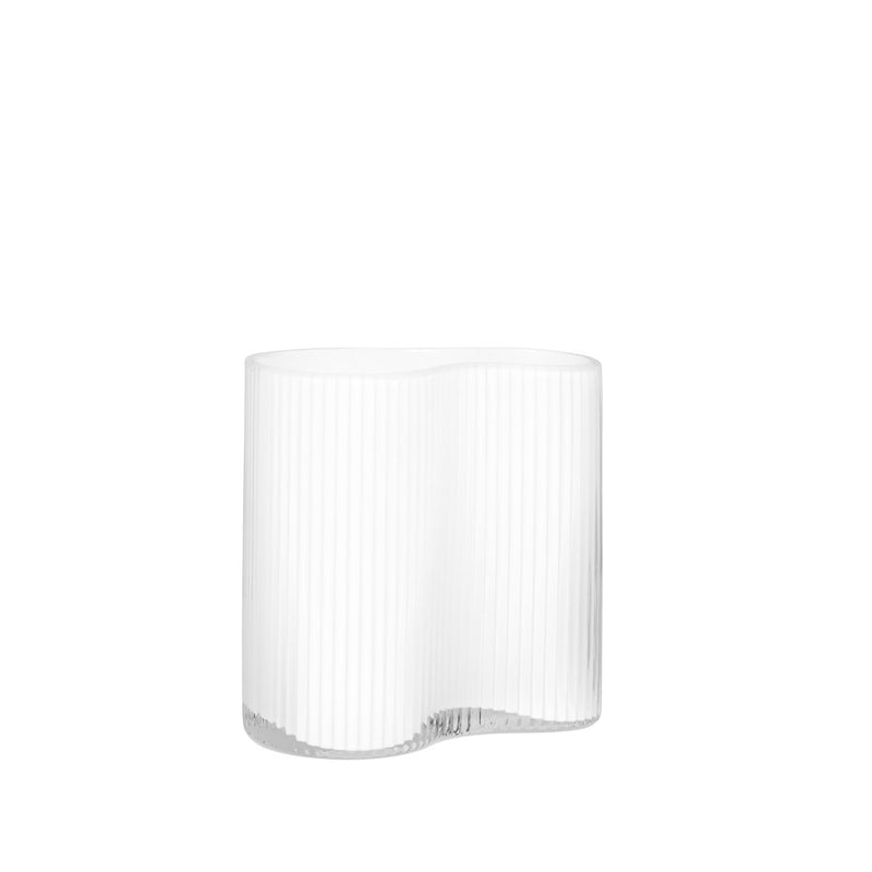"CONTOUR PINCHED WHITE 7H"" RIBBED GLASS VASE"