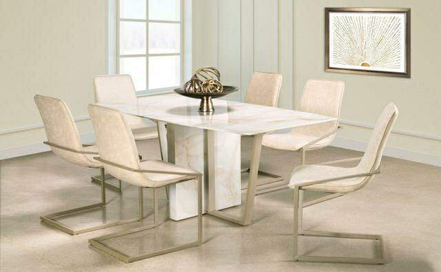 7PCS ANDREA MARBLE LOOK GLASS DINING SET