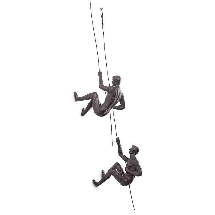 CLIFF RESIN MEN 2 PIECE WALL CLIMBING SCULPTURE SET - ANTIQUE BRONZE