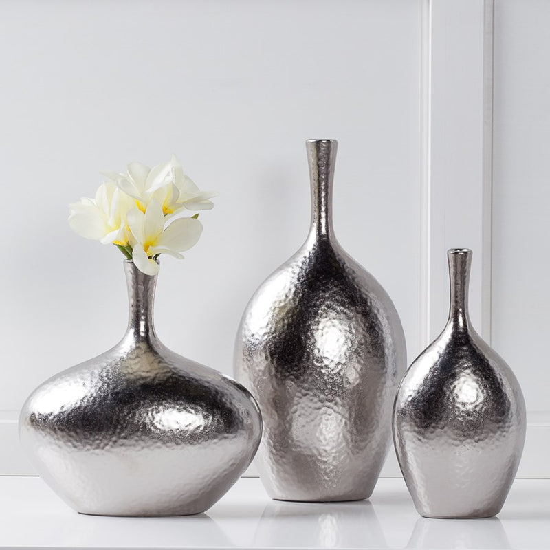 "LILO DIMPLED CERAMIC 8.75H"" WIDE VASE - SILVER"