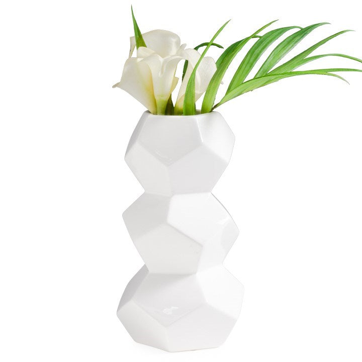 "ORION 10H"" STACKED CERAMIC VASE - WHITE"