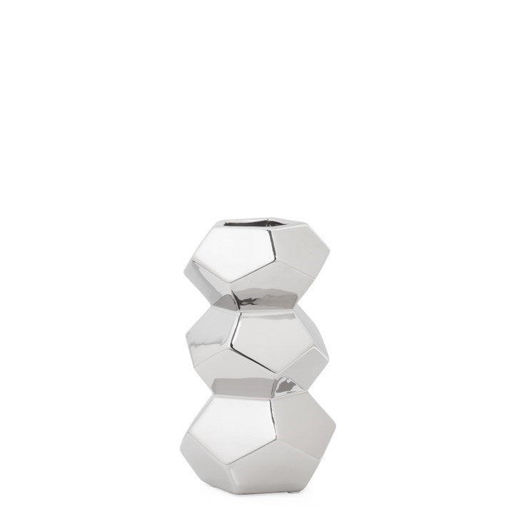 "ORION 8H"" STACKED CERAMIC VASE - SILVER"