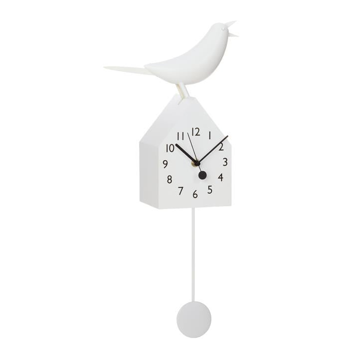 MOTION BIRDHOUSE CLOCK WITH REMOVABLE PENDULUM - WHITE