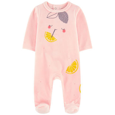 Catimini baby girls peach velour babygro