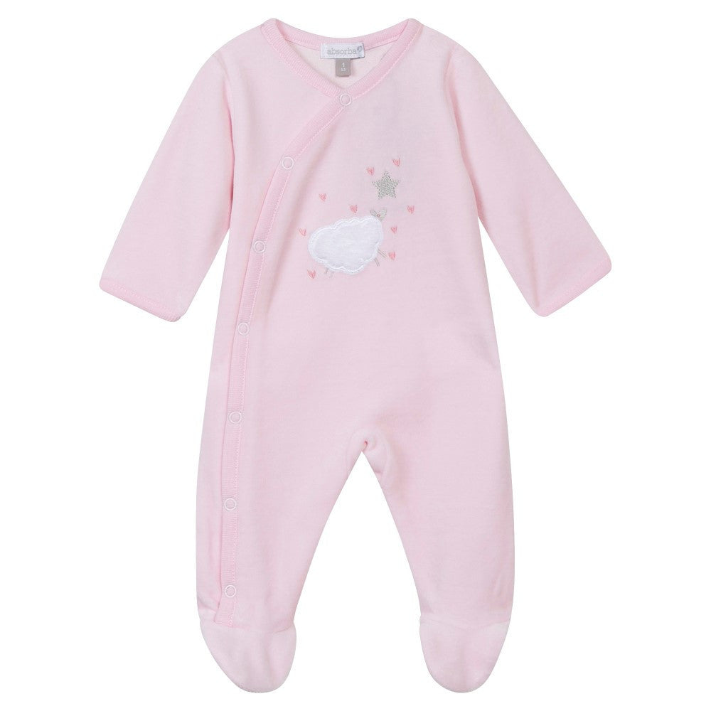 Absorba Pink Velour Babygro Sheep Design