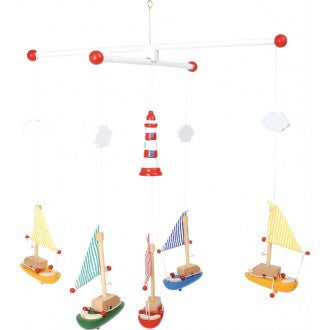 wooden sailboat mobile