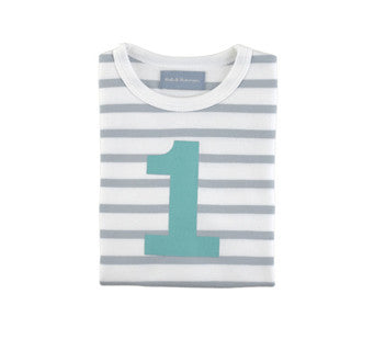 Grey & white stripe turquoise number 1 tee