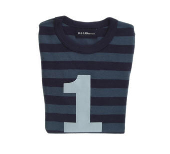 Vintage Blue & navy stripe grey number tee