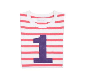 Pink & white stripe purple number 1 tee