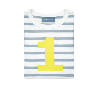 Grey & white stripe yellow number tee
