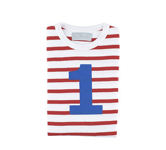 Red & white stripe blue number tee