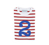 Red & white stripe blue number 2 tee