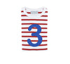 Red & white stripe blue number 3 tee