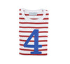 Red & white stripe blue number 4 tee