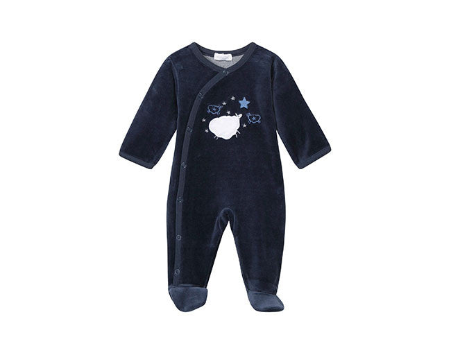 Absorba Navy Blue Velour Babygro Sheep Design