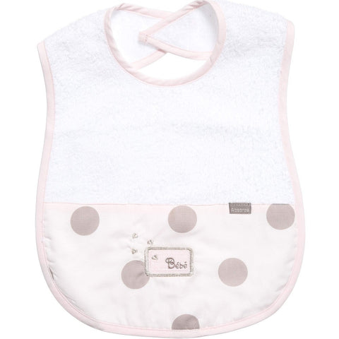 Absorba Baby Pink Spotty Toweling Bib