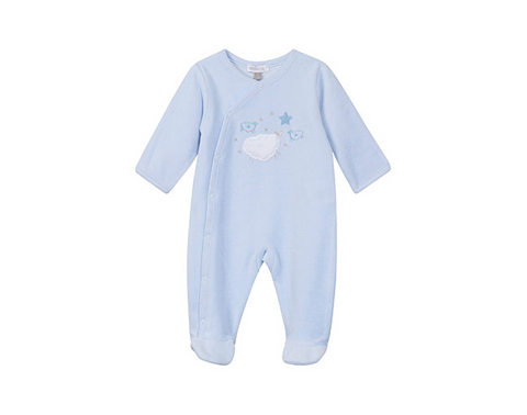 Absorba Baby Blue Velour Babygro