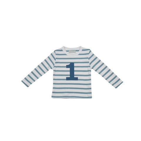 Blue & white stripe ocean blue number tee
