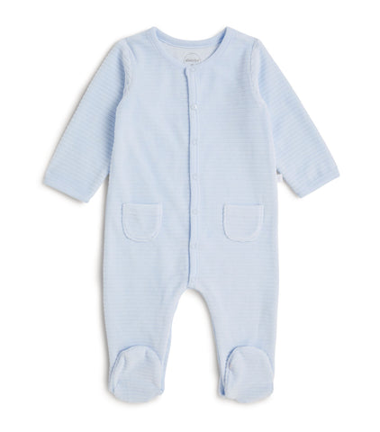 Absorba Baby Blue Ribbed Velour Babygro
