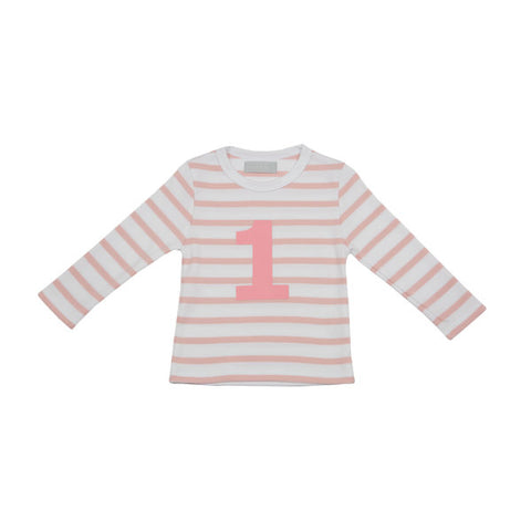 Bob & Blossom Pink & White Stripe Coral Number Tee