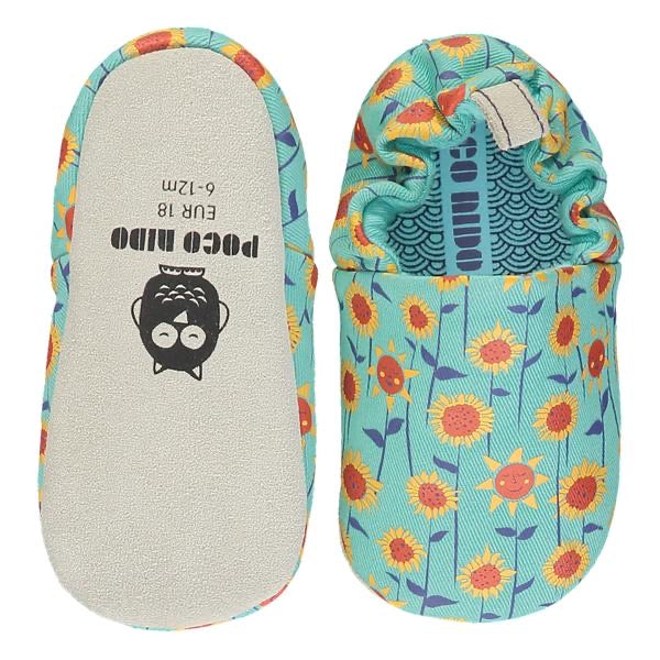 Poco Nido Turquoise Sunflower Baby Shoes