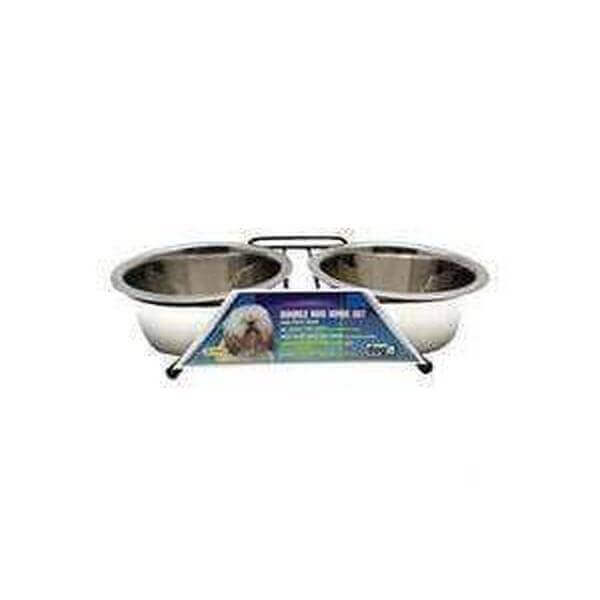 Dogit Stainless Steel Double Dog Diner, Medium, with 2 x 750ml (25 fl oz) bowls and stand-Bowl-Whiskers Nation