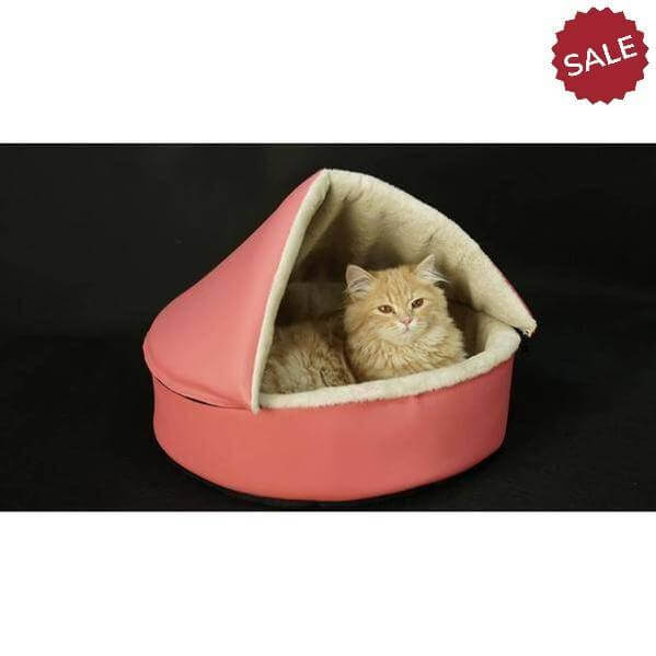 Heated cat cushion and heated house for all seasons- Pink-Omar-Whiskers Nation