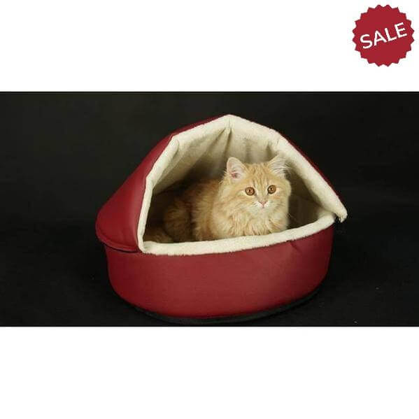 Heated cat cushion and heated house for all seasons- Red color-Omar-Whiskers Nation