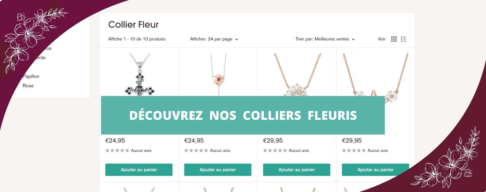 Collection de colliers fleurs Fleur&Fleuri