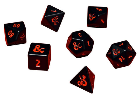 Heavy Metal - Poly Black and Red Dice Set (7)