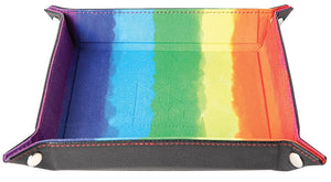 "10""x10"" Velvet Folding Dice Tray w/ Leather Backing - Watercolor Rainbow"