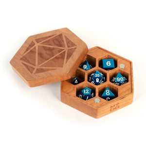 Premium Wood Hexagon Dice Case - Cherry