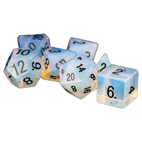 16mm Stone Dice Poly Set - Opalite (7)