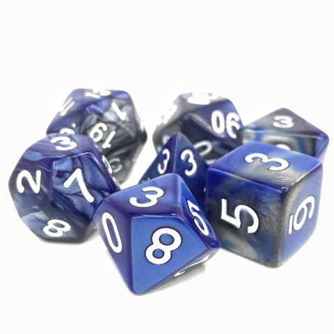 Dargon's Dice - Blessed Steel: Silver/Blue Fusion