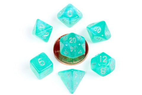 Mini Poly Dice Set - Stardust Turquoise