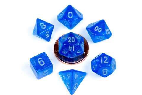 Mini Poly Dice Set - Stardust Blue w/ Silver Numbers