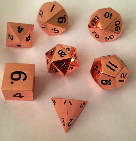 16mm Metal Poly Dice Set - Copper
