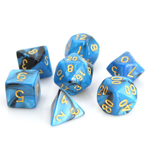 RPG Set - Blue/Black Marble