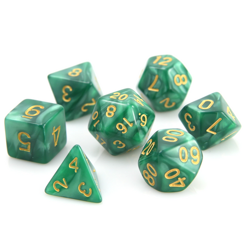 RPG Set - Green Swirl w/ Gold