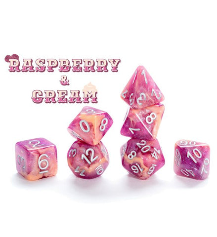 Aether Dice: Poly - Raspberry and Cream (7)