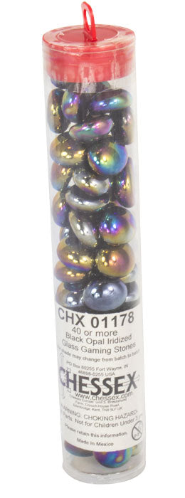 Black Opal Iridized Glass Stones in 5.5' Tube (40)