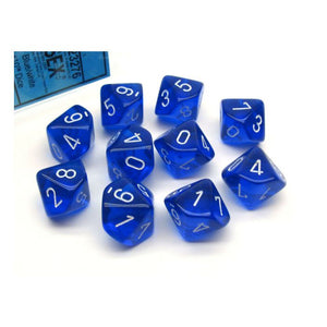Translucent: D10 - Blue/White (10)