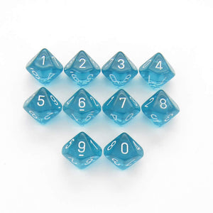 Translucent: D10 - Teal/White (10)