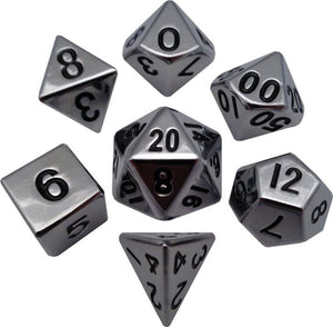 16mm Metal Poly Dice Set - Silver