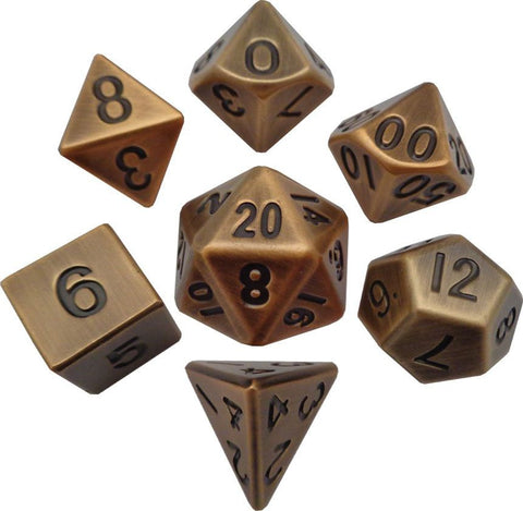 16mm Metal Poly Dice Set - Antique Gold