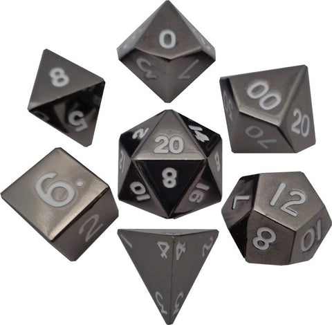 16mm Metal Poly Dice Set - Sterling Gray