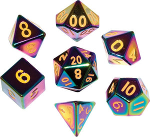 16mm Metal Poly Dice Set - Flame Torched Rainbow