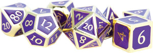 16mm Metal Poly Dice Set - Gold w/ Purple Enamel